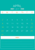 2017 April calendar design simple | colorful modern business Royalty Free Stock Image