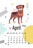 April Calendar för 2018 år med Loyal Rottweiler Arkivfoton