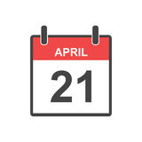 April 21 calendar icon. Vector illustration in flat style Royalty Free Stock Photo
