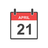 April 21 calendar icon. Vector illustration in flat style.  Royalty Free Stock Image