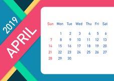 April 2019 Calendar Leaf. Calendar 2019 in flat style. A5 size. Vector illustration. April 2019 Calendar Leaf. Calendar 2019 in flat style. A5 size. Vector stock illustration