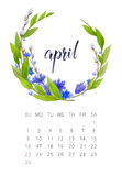 April calendar. New watercolor calendar with floral wreath and hand lettering. Modern calligraphy poster. April 2017 Royalty Free Stock Photos