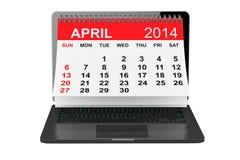 April calendar over laptop screen Royalty Free Stock Photos