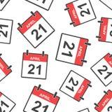 April 21 calendar page seamless pattern background. Business fla. T vector illustration. April 21 sign symbol pattern Stock Images