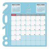 April 2018 Calendar Planner Design. 2018 Calendar Planner Design, April 2018 year vector calendar design Royalty Free Stock Photos