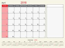 April 2018 Calendar Planner Design. 2018 Calendar Planner Design, April 2018 year vector calendar design Stock Image