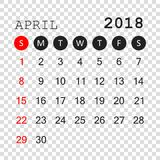 April 2018 calendar. Calendar planner design template. Week star. Ts on Sunday. Business vector illustration Royalty Free Stock Images