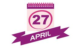 27 April Calendar with Ribbon. Calendar Vector can use for any purpose Stock Photos