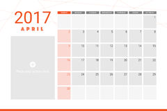 April 2017 calendar. With space for picture Stock Image