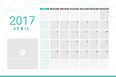 April 2017 calendar. With space for your pictures Stock Image