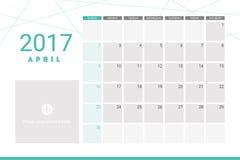 April 2017 calendar Stock Image
