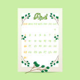 April 2017  calendar with tree branches on green background. Vector illustration Royalty Free Illustration