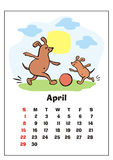 April 2018 calendar. Wall calendar for  april, 2018 with funny dogs. Fun children`s illustration in cartoon style. Colorful vector background. Vertical Royalty Free Stock Photos