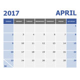 2017 April calendar week starts on Sunday. Stock vector Royalty Free Stock Photos