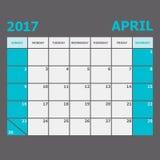 April 2017 calendar week starts on Sunday. Stock vector Stock Photo