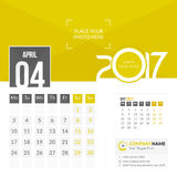 April 2017. Calendar 2017. April 2017. Calendar for 2017 Year. 2 Months on Page. Vector Design. Template with Place for Photo and Company Logo Stock Images