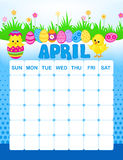 April calender. Colorful wall calender page template with seasonal graphics for each month. April easter themed calender page Stock Photo