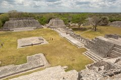 Mayan structures in Edzna Mexico. April 20, 2014 Campeche, Mexico: ancient mayan structures in the grand acropolis at the Edzna archaeological park stock image