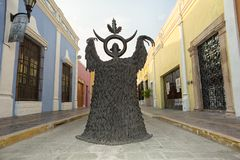 Leonora Carrington statue closeup on the street in Campeche Mexico. April 19, 2014 Campeche, Mexico: closeup details of a Leonore Carrington surrealist statue Royalty Free Stock Images