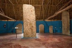 Mayan stelae at Edzna Mexico royalty free stock photography