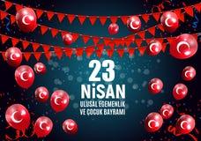23 April Children`s day Turkish Speak: 23 Nisan Cumhuriyet Bayrami. Vector Illustration. EPS10 Stock Photography