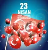 23 April Children`s day Turkish Speak: 23 Nisan Cumhuriyet Bayrami. Vector Illustration. EPS10 Stock Image
