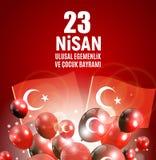 23 April Children`s day Turkish Speak: 23 Nisan Cumhuriyet Bayrami. Vector Illustration. EPS10 Royalty Free Stock Image