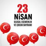 23 April Children`s day Turkish Speak: 23 Nisan Cumhuriyet Bayrami. Vector Illustration. EPS10 Royalty Free Stock Photo