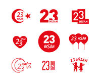 April 23 Children`s Day vector icon set Stock Photography
