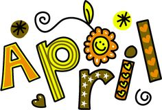 April Clip Art. Whimsical cartoon text doodle for the month of April