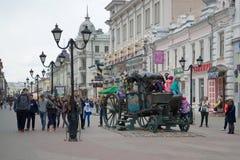 April cloudy day on Bauman Street. Kazan. KAZAN, RUSSIA - APRIL 30, 2016: April cloudy day on Bauman Street Stock Images