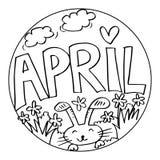 April Coloring Pages para crianças ilustração royalty free