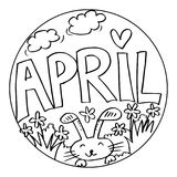 April Coloring Pages para los niños Libre Illustration