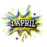 1 April Comic Text no PNF Art Style ilustração stock