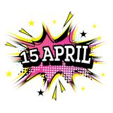 15 April Comic Text no PNF Art Style ilustração stock