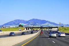April 14, 2018 Concord / CA / USA - Driving on the freeway in east San Francisco bay area; Mt Diablo in the background royalty free stock images