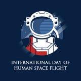 12 April Cosmonautics Day Fahne mit Astronauten Internationaler Tagesmenschlicher Abstandsflug Stockbild