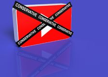 3D Illustration. You tube logo with a black cross with the word conservative Stock Photography