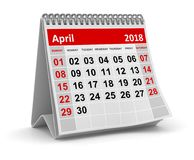 April 2018 - Calendar. April 2018 , This is a 3d rendered computer generated image. Isolated on white Stock Photography