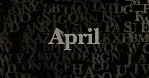 April - 3D teruggegeven metaal gezette krantekopillustratie Royalty-vrije Stock Fotografie