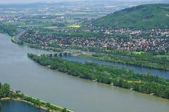 April-dag op de Donau Buurt van Wenen, Oostenrijk Stock Foto's