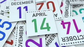 April 14 date on calendar leaf. 3D rendering. Calendar page with a specific date, 3D royalty free illustration