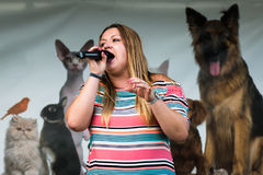 April Davies Solo Singer. At The Festival of Leisure South Derbyshire Royalty Free Stock Photo