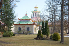 April day in the Chinese village. Alexander Park of Tsarskoye Selo Royalty Free Stock Images