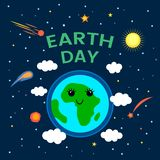 April 22 is the day of the Earth. funny comic poster in a cartoon style. Planet Earth in space with stars and comets. flat vector. April 22 is the day of the royalty free illustration