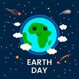 April 22 is the day of the Earth. funny comic poster in a cartoon style. Planet Earth in space with stars and comets. flat vector. April 22 is the day of the stock illustration