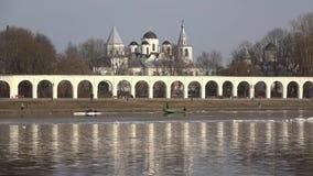 April day on the Volkhov river. Veliky Novgorod, Russia. VELIKY NOVGOROD, RUSSIA - APRIL 16, 2018: April day on the Volkhov river stock footage