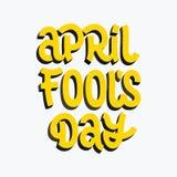 April-de borstel van de dwaas` s dag het vector van letters voorzien Stock Foto's