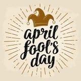 April-de dag het kalligrafische handschrift van de dwaas van letters voorzien met narrenglb gravure royalty-vrije illustratie