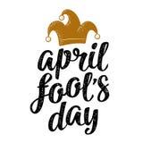 April-de dag het kalligrafische handschrift van de dwaas van letters voorzien met narrenglb gravure vector illustratie
